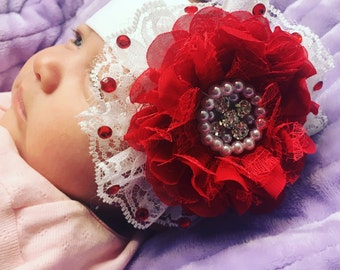 Baby girl red and white pearl rhinestone lace headpiece photo prop