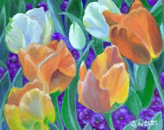 Mixed TULIP FLOWERS in Original 8 x 10 Oil Painting by Sharon Weiss