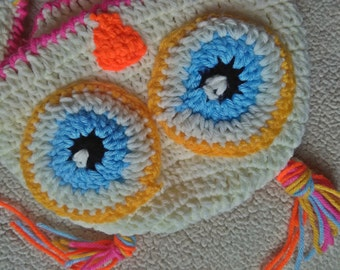 Owl Crochet Hat with Ear flaps for Kids