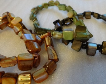 Lot of 5 Mother of Pearl Beads  Bracelets Stretchy