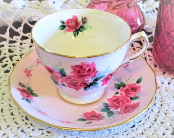 Vintage Shabby Pink Colclough a product of Ridgway Potteries Ltd made in England bone china cup and saucer