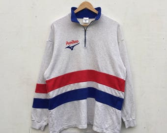 Vintage 90s MIZUNO Jumper  RUNBIRD Spellout Half Zip Activewear Sweatshirt Size M #195