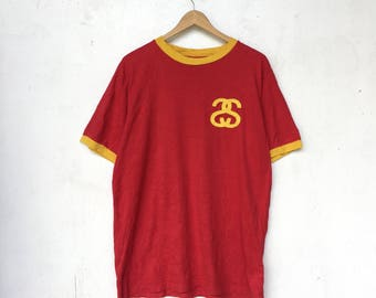 STUSSY Vintage Stussy Embroidery Logo Red Yellow Ringer T-Shirt Size L #200