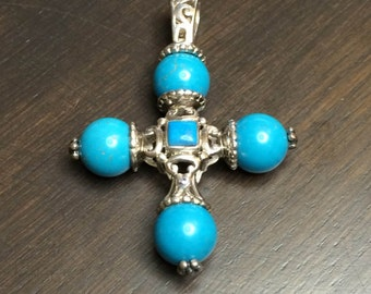 Art Deco Vintage Silver 925 Cross with Turquoise stones 1990s