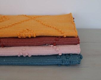 SMALL Woven Rag Rug,  Handwoven Carpet, Handwoven Rug, blue, pink, red, yellow, Throw Rug, Boho Rug, Portuguese Cotton Rug, childroom decor.