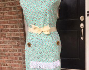 Mint Green with Pink Flowers Calico Apron Bohemian Belle