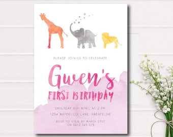 Jungle Animals First Birthday Invitation Girls, Pink Jungle Safari Animal First 1st Birthday Party Invitation, Printable Jungle Invite, pink