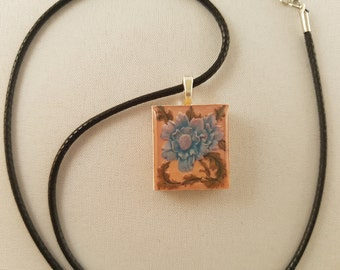 Vintage Blue Floral scrabble tile resin pendant #1