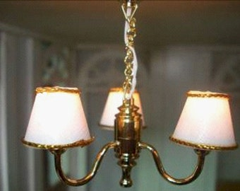 1/12 Dolls house working 3 arm chandelier new