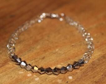Silver & Clear Beaded Bracelet