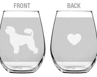 Portuguese Water Dog Stemless Wine Glass Set