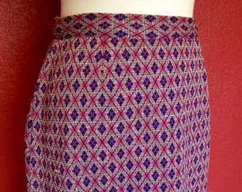 Vintage Plaid Silver/Pink Full Length Skirt