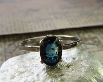 Sale! Blue Sapphire set in 14k White Gold Ring