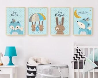 Nursery printable, Nursery print, Nursery set of 4, Nursery print set, Woodland nursery, Nursery wall art, Forest friends, Forest animal set