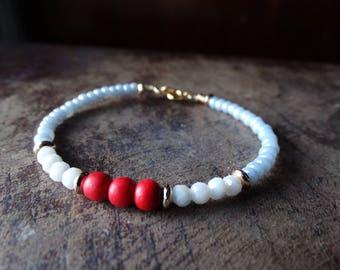 Red White and Blue beaded bracelet