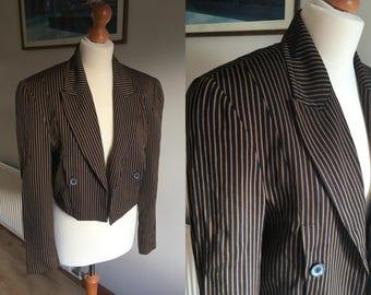 Pinstripe cropped jacket - Vintage 1980s - Mondi - black and brown - Shoulder pads