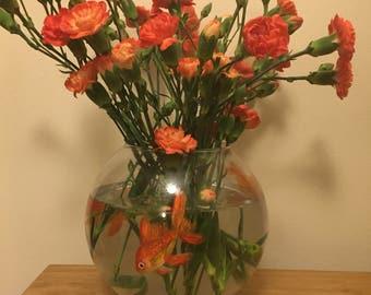 Goldfish Bowl Vase-Hand Painted Bowl Vase-Mothers Day Vase-Swimming Fish
