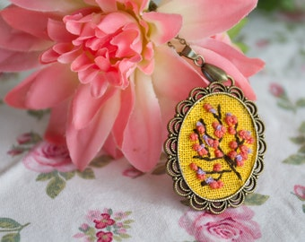 Cherry Blossom- Hand Embroidered Necklace, flower, floral, bouquet, pink