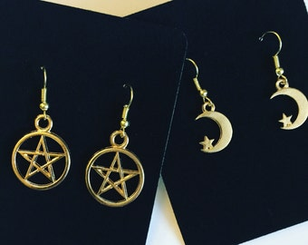 Witch Girl Gold Earring Set