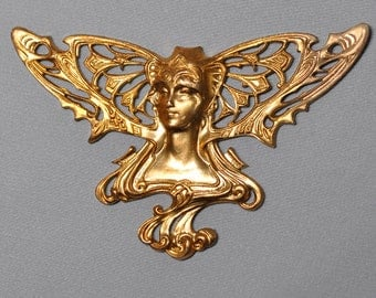 French Art Nouveau Angel Winged Lady Nymph Finding Raw Brass Die Casting Made in France 407J