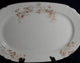 Alpine China Serving Platter, with Pink Flowers