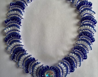 "Blue and Silver handmade beaded 18"" necklace"