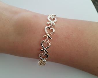 Love Heart Link Bracelet in Silver