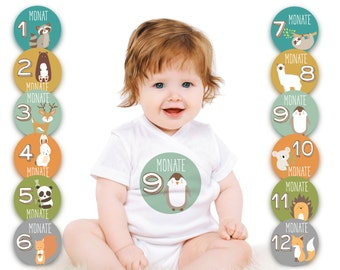 Paul & Gretchen baby month sticker for the 1st year of life (German) - animal motifs
