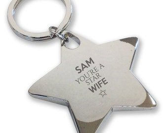 Personalised engraved You're a Star WIFE keyring gift, deluxe chunky star keyring - STK13
