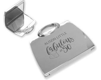 Personalised engraved fabulous 50TH birthday compact mirror gift idea, SILVER PLATED handbag mirror - FAB50