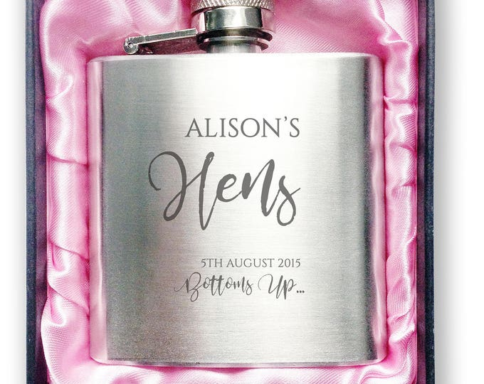 Personalised engraved Bachelorette HEN PARTY bride to be stainless steel hip flask gift, handbag sized, presentation box - 3HEN4