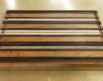 Long-Grain Cutting Board - Walnut, Cherry & Curly Maple