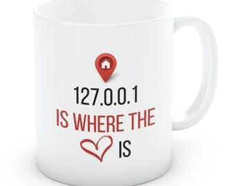 127 0 0 1 Home Is where The Heart Is Mug Cup (Ref M17)