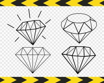 Diamond Svg Bundle Clipart Jewelry Cut files for Cricut Silhouette Pdf Dxf Png