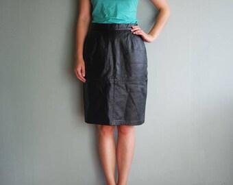 Vintage Black Leather Pencil Skirt Highwaisted Pencil Skirt Genuine Leather Straight Pencil skirt EU38 UK10 US6