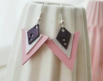 Earrings leather pink and purple