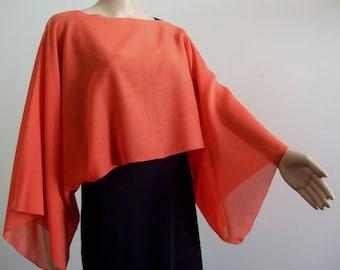 The beautiful veil of cotton print poncho-scarf-tube mini orange all peas