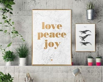 Marble print/marble Gold Love Print/marble foil gold print poster/marble metal print/marble gold foil illustration/marble love peace joy art