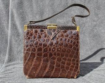 vintage Mid Century real Alligator Crocodile purse handbag
