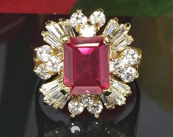 BIG 14k solid gold Ruby ring