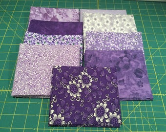 9 Fat Quarters Purple and Lilac Coordinated Colors