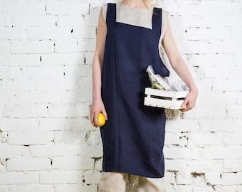Linen apron, linen pinafore, chef apron, square cross apron, kitchen apron, Cross back apron, linen women clothing, no ties apron/LA0003