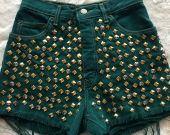 Gold & Silver studded GREEN vintage Guess Jeans highwaisted shorts