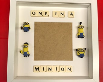"Picture frame, One in a minion, with space for your own 5"" x 5"" photo"