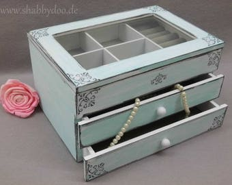 White jewelry box turquoise shabby chic ornaments 2 drawer lid with glass shabby white jewelry box gift women