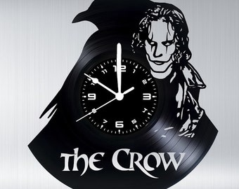 THE CROW vinyl disk clock handmade Crow