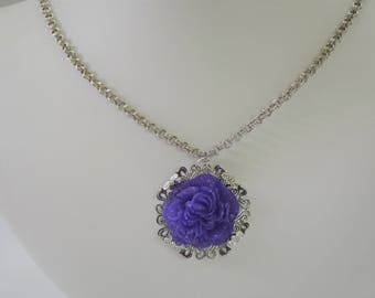 Purple Resin Peony Necklace