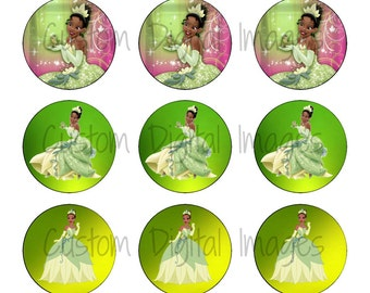 "INSTANT DOWNLOAD Princess Tiana Bottle Cap Image Sheet | Digital Image Sheet | 4""x6"" Sheet with 15 Images"