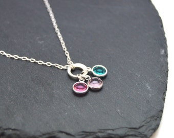 Personalised Family Birthstone necklace, Necklace for Mum, Family Birthstone Jewellery, Personalised Grandma Gift, Mothers Day Gift