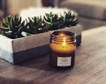 Burning Cedar Candle - 100% hand poured soy wax and fine fragrance
